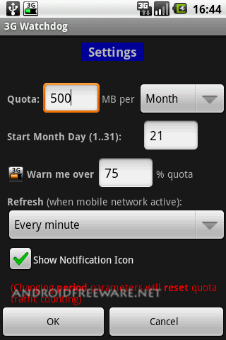 Monitors your Mobile Internet  3G Edge GPRS  traffic usage