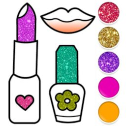 Image of Beauty Drawing Pages Make Up Coloring Book Glitter