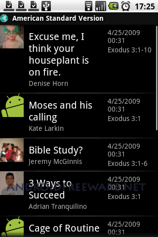 The YouVersion.com Android application allows you to easily search for, bookmark and access any passage in the Bible