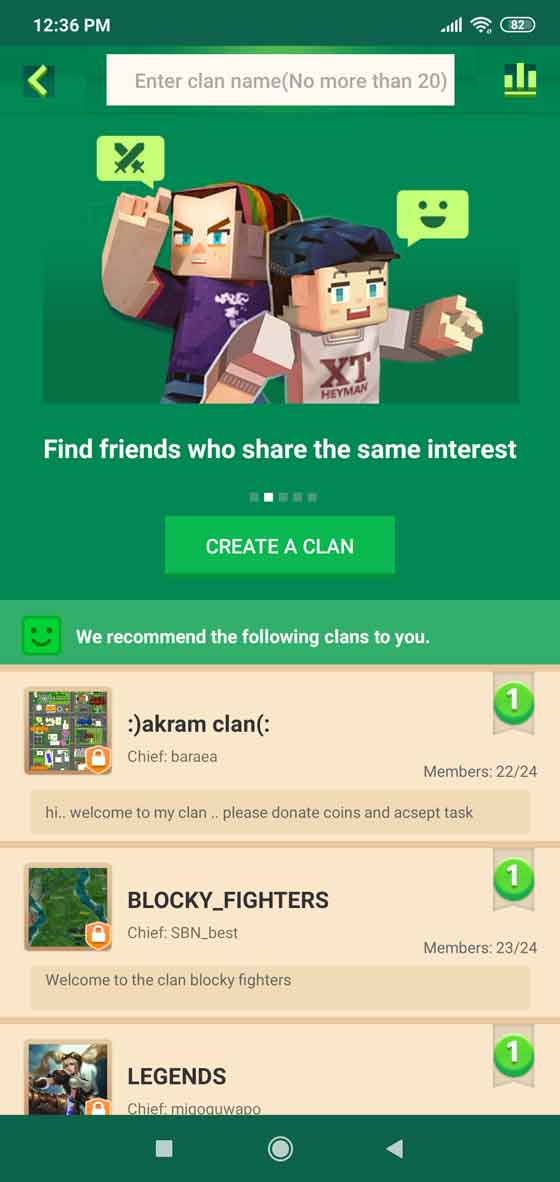 Find friends and clans