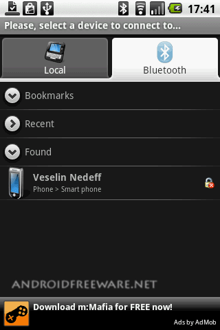 Use your android phone to browse, explore and manage files of any Bluetooth ready device!