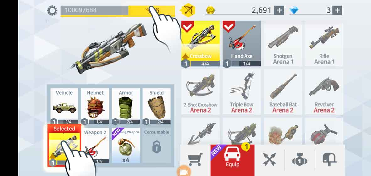 Huge arsenal of weapons