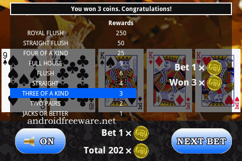Touchscreen implementation of the popular casino game video poker.
