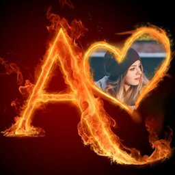 Image of Fire Text Photo Frame
