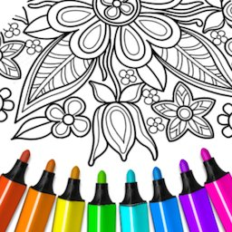 Image of Flowers Mandala coloring book