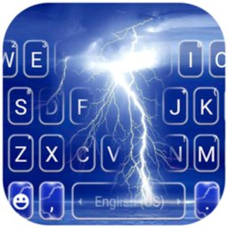 Image of Blue Sky Lightning Keyboard Background
