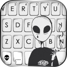 Image of Cool Smoking Alien Keyboard Background