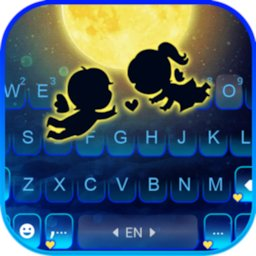Image of Cute Moon Couple Keyboard Background