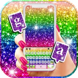 Image of Glitter Rainbow Keyboard Background