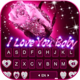 Image of Glitter Rose Love Keyboard Background