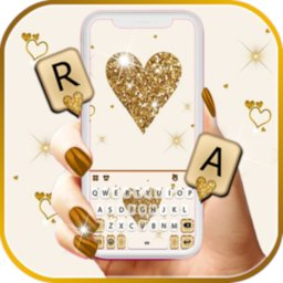 Image of Gold Glitter Heart Keyboard Background