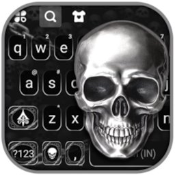 Image of Metal Skull Keyboard Background