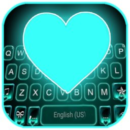 Image of Neon Cyan Heart Keyboard Background