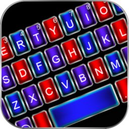 Image of Neon Metal Color Keyboard Background