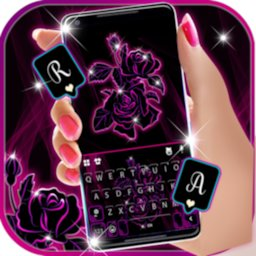 Image of Neon Pink Flowers 2 Keyboard Background