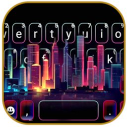 Image of Neon Urban Keyboard Background