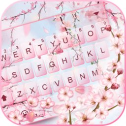 Image of Pink Sakura Petals Keyboard Background