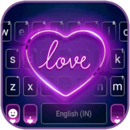 Image of Purple Neon Heart Keyboard Background