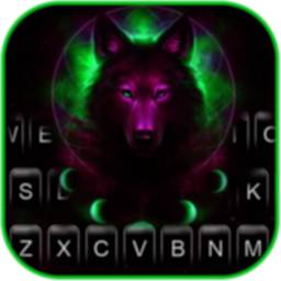 Image of Purple Night Wolf Keyboard Background