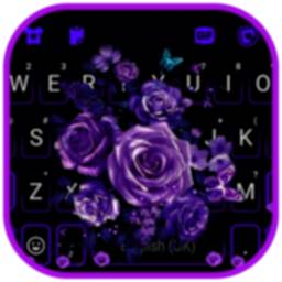 Image of Purple Rose Bouquet Keyboard Background