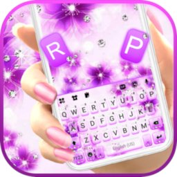 Image of Purple Shiny Flowers Keyboard Background