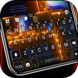 Tech Circuit 3D Keyboard Background icon