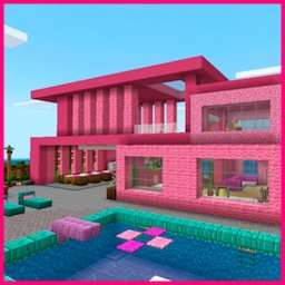 Image of Pink house with furniture. Craft maps and mods