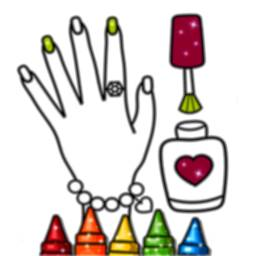 Image of Glitter Nail Drawing Book and Coloring Game