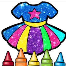Image of Glitter Dresses Coloring Book and Drawing pages