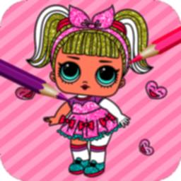 Image of Cute Dolls Gliter Coloring Pages