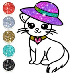 Image of Cute Kitty Coloring Book For Kids With Glitter