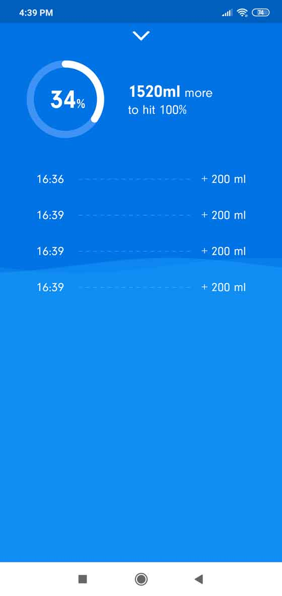 Daily records and history of your water intake