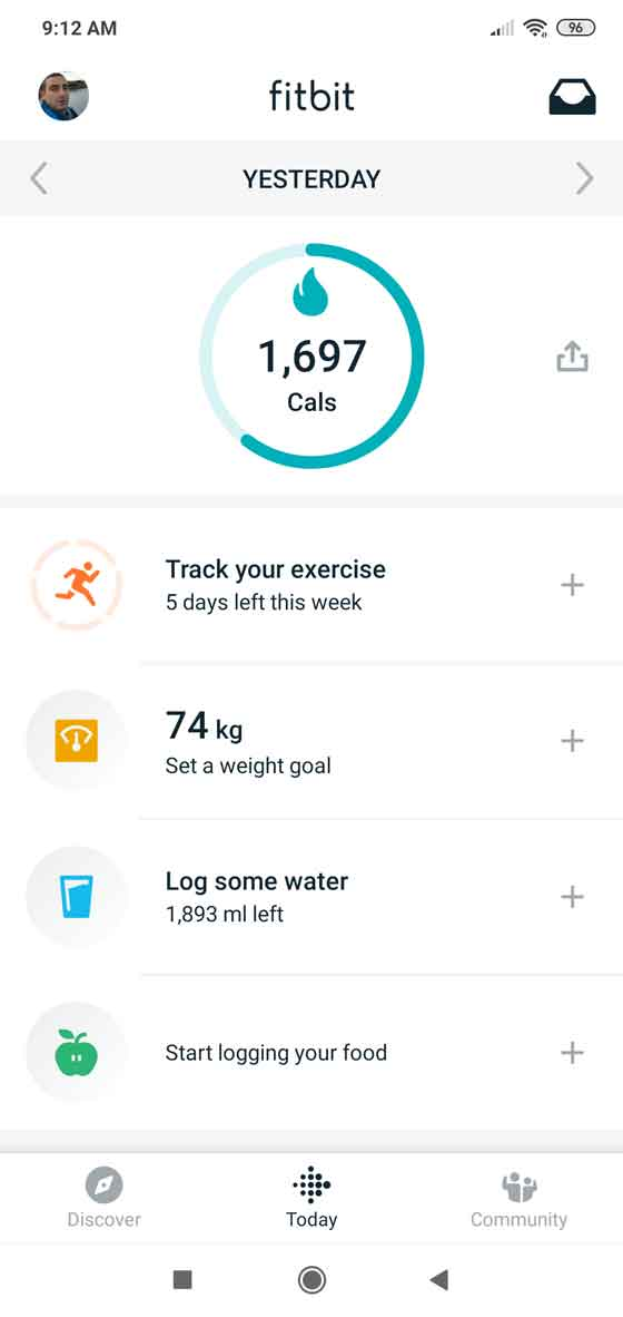 Fitbit screenshot 1