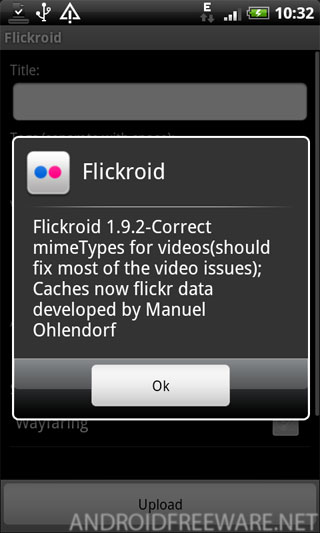 simple flickr upload application that integrates in the share feature of the media gallery.
