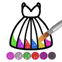 Image of Glitter dress coloring and drawing book for Kids