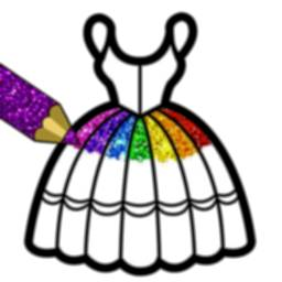 Image of Glitter Dresses Coloring Book For Kids