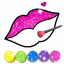 Image of Glitter Lips with Makeup Brush Set coloring Game