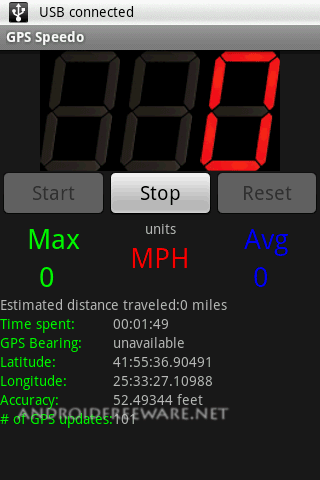 GPS Speedometer uses the builtin GPS to show your current, max, and average speed, direction, and distance travelled.