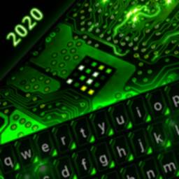 Image of Green Light Cyber Circuit Wallpaper and Keyboard