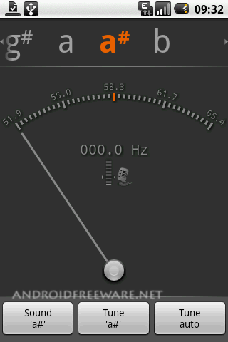 gStrings is a chromatic tuner application measuring sound pitch and intensity.