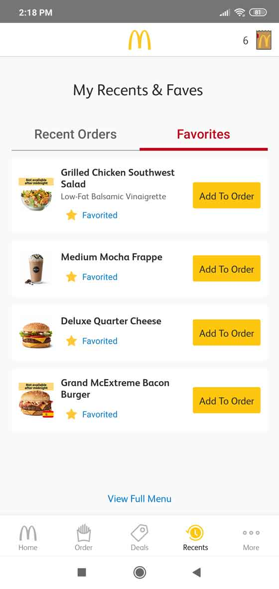 Make a list of your favorite McDonald's food