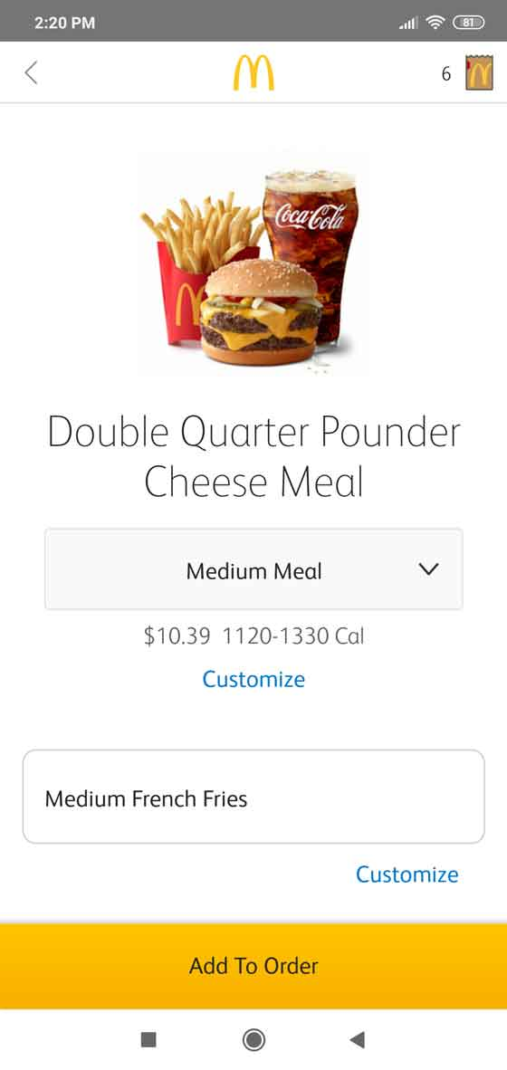 How to order online food from McDonald's