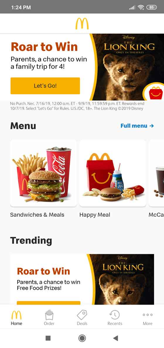 How to use McDonald's app for Android