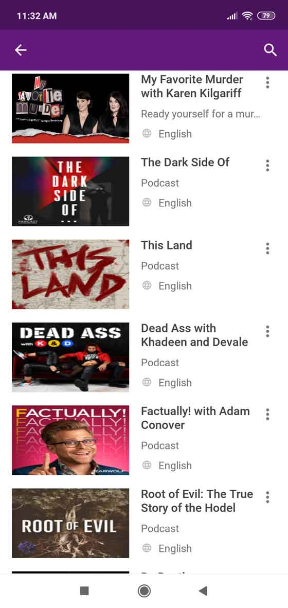 Variety of podcasts