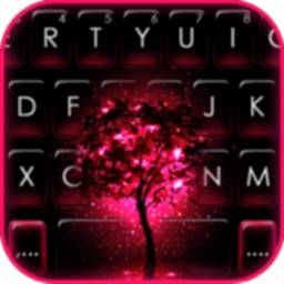 Image of Neon Pink Galaxy Keyboard Theme
