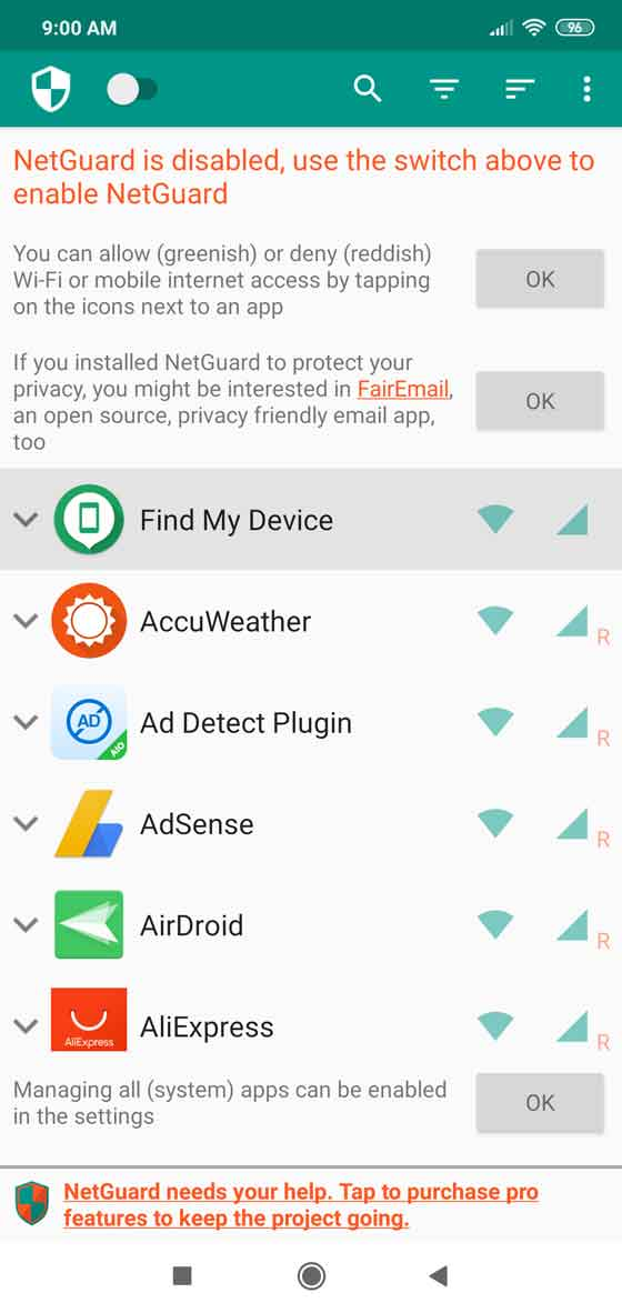 NetGuard screenshot 1