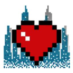 Image of Pixel Flaming Hearts