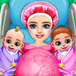 Image of Pregnant Mom And Twin Baby Care Nursery Game