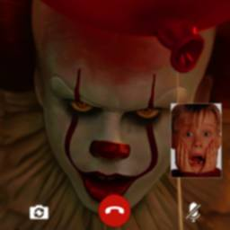 Image of scary clown fake video call