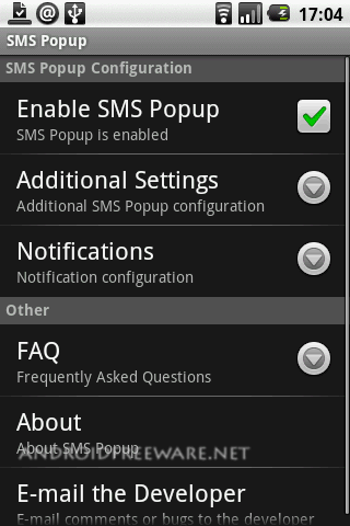 A simple app that shows a popup dialog when a SMS/MMS is receive
